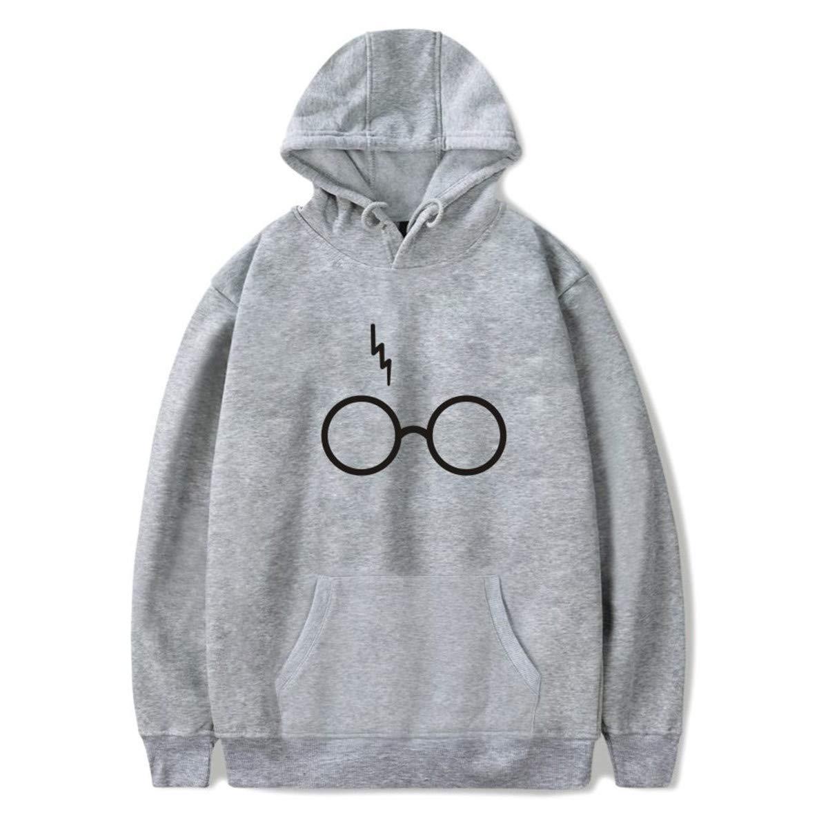 SIMYJOY Mujer Harry Potter Fans Sudaderas con Capucha Relámpago Cicatriz en Gafas Sporte Sweaters Casual Cool Tops Sudadera para Niñas, ...