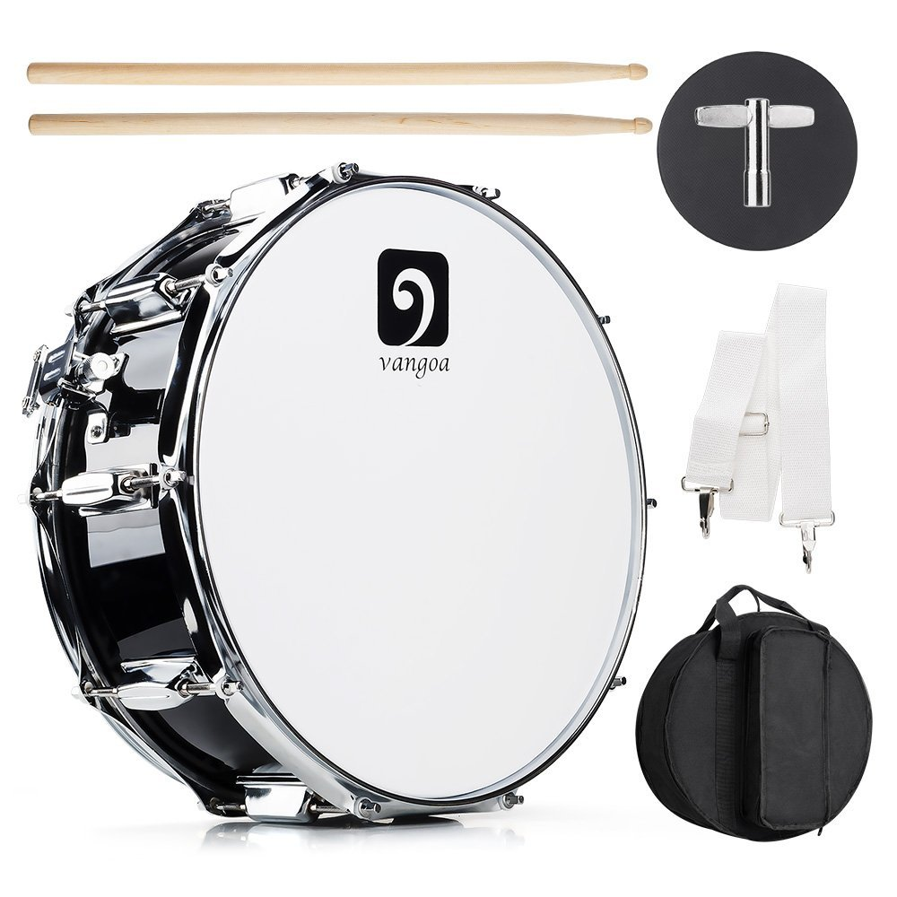 Vangoa Snare Drum Kit, 10 Tuning Lugs, Maple Wood Cavity, 14'' x 5.5'' with Drumsticks, Drum Key, Strap, Practice Pad and Carry Bag