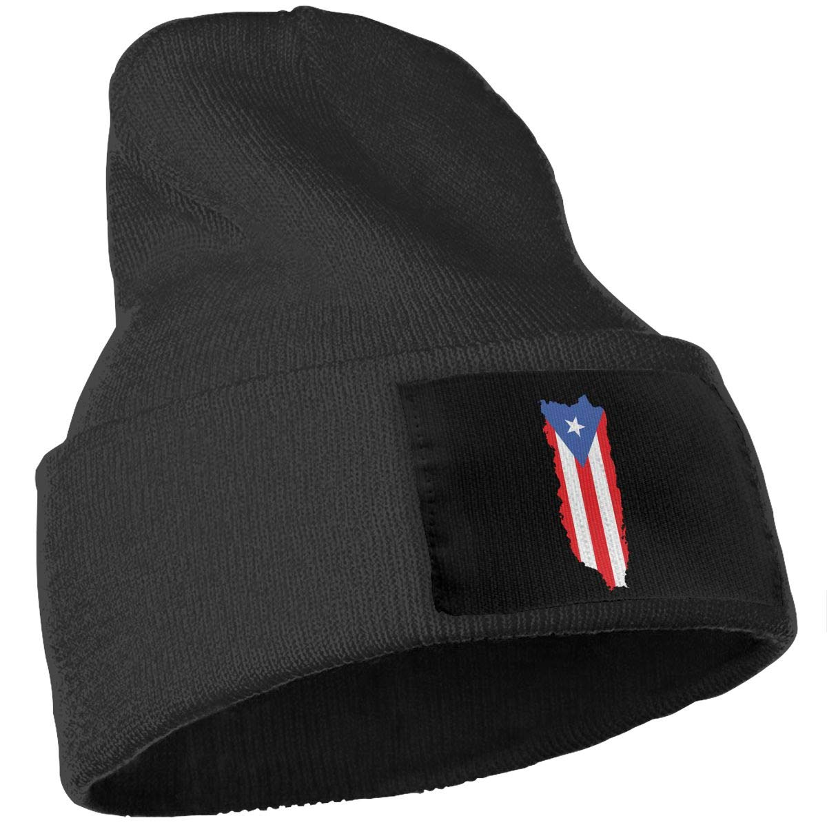 Puerto Rico Flag Island Outdoor Winter Ski Knit Beanie Hat Cap for Men and Women