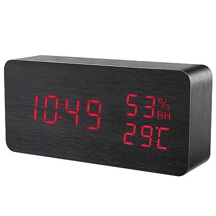 2019 New】 ORIA Reloj Digital Despertador de Madera, Digital ...