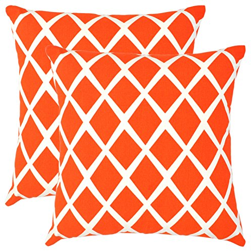 Bath Bed Decor Pack of 2 Accent Decorative Throw Pillow Covers Cushion Cases Cushion Covers Pillowcases in Cotton Canvas with Hidden Zipper Slipcovers for Couch Sofa Bed (18 x 18 Inches; Orange) (Diamond Sofa Accent)