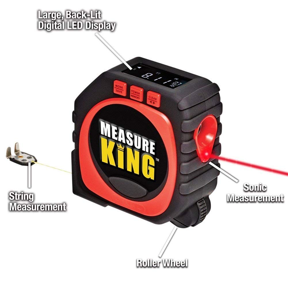 Measure King 3-in-1 Digital Tape Measure String Sonic Roller Mode Pantalla LCD LED