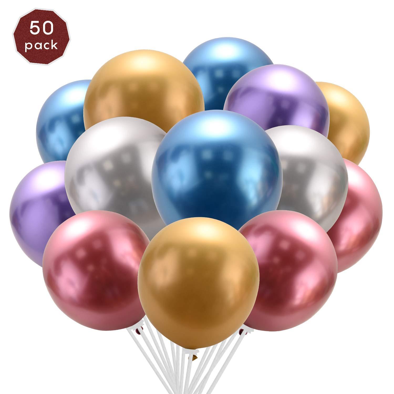 """Paquete De 50-12/"""" Plata Metalizado Globos de Látex para el cumpleaños fiesta decoración"""