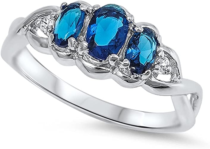 CloseoutWarehouse Blue Simulated Topaz Cubic Zirconia Eternity Ring Sterling Silver Size 7