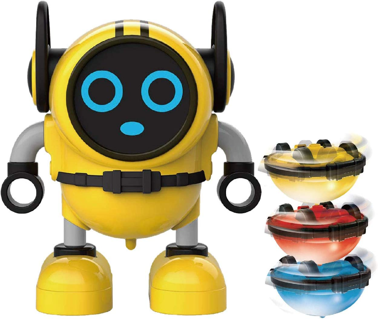 SPACE LION Spinning Top, Toys-Spin Tops, Multi-Function Mini Robot Toys, Pull Back Car Toy, Novelty Spinning Tops, Gyro Battling Game Tops, Wind Up Toys for Kids(Yellow)