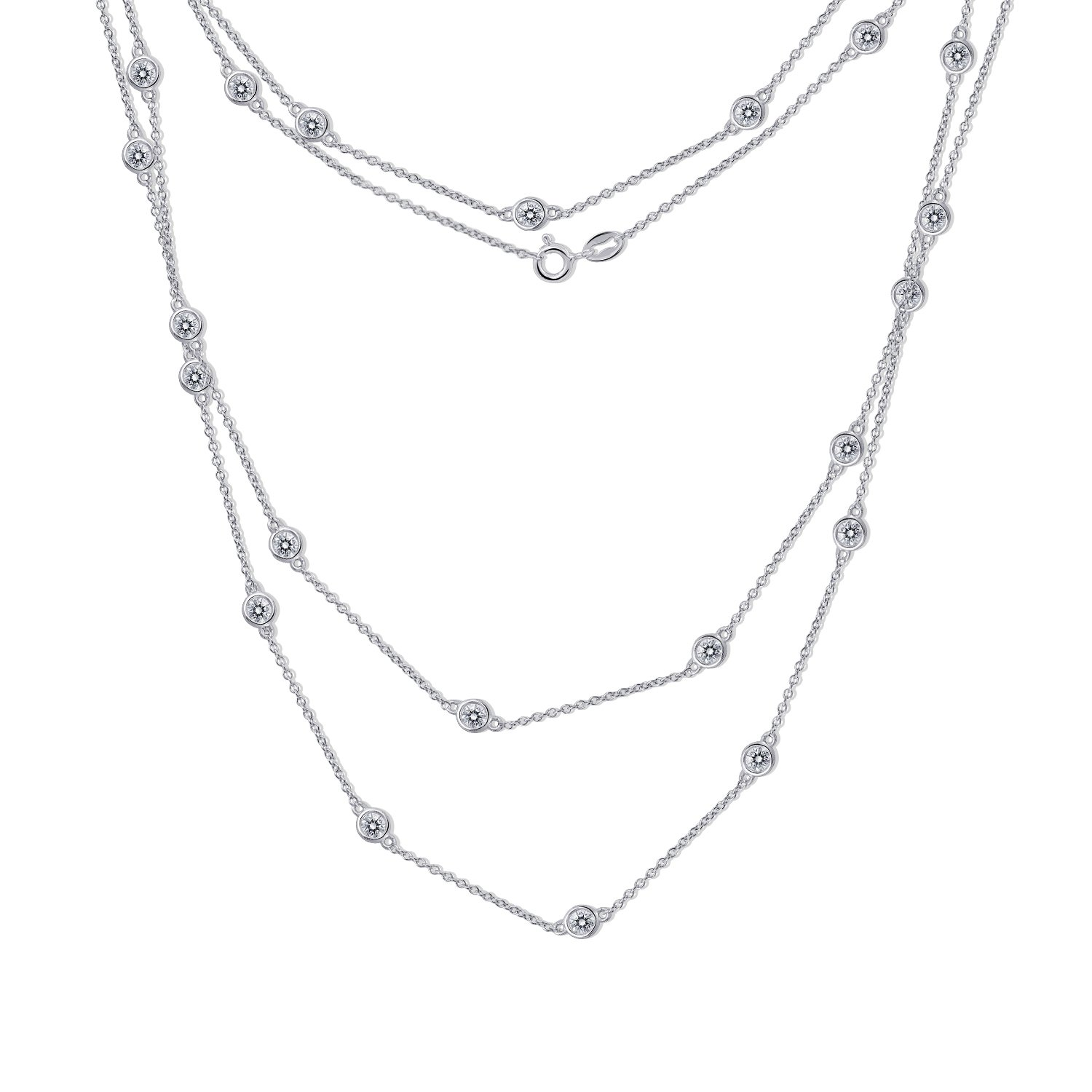 Diamonbliss Sterling Silver 6.6 ct Cubic Zirconia Necklace