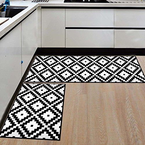 and Rugs Black And White Small Square Geometric Indoor Floor Area Rug Low Profile Absorbent Runner for Home Bathroom Bath Bedroom ()