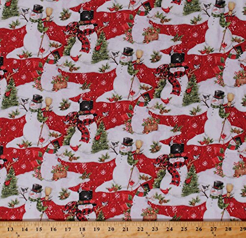 Cotton Snowman Snowmen Christmas Pine Trees Cardinals Snowflakes Snow Holidays Festive Winter Red Scenic Cotton Fabric Print by The Yard (64465-D650715) ()