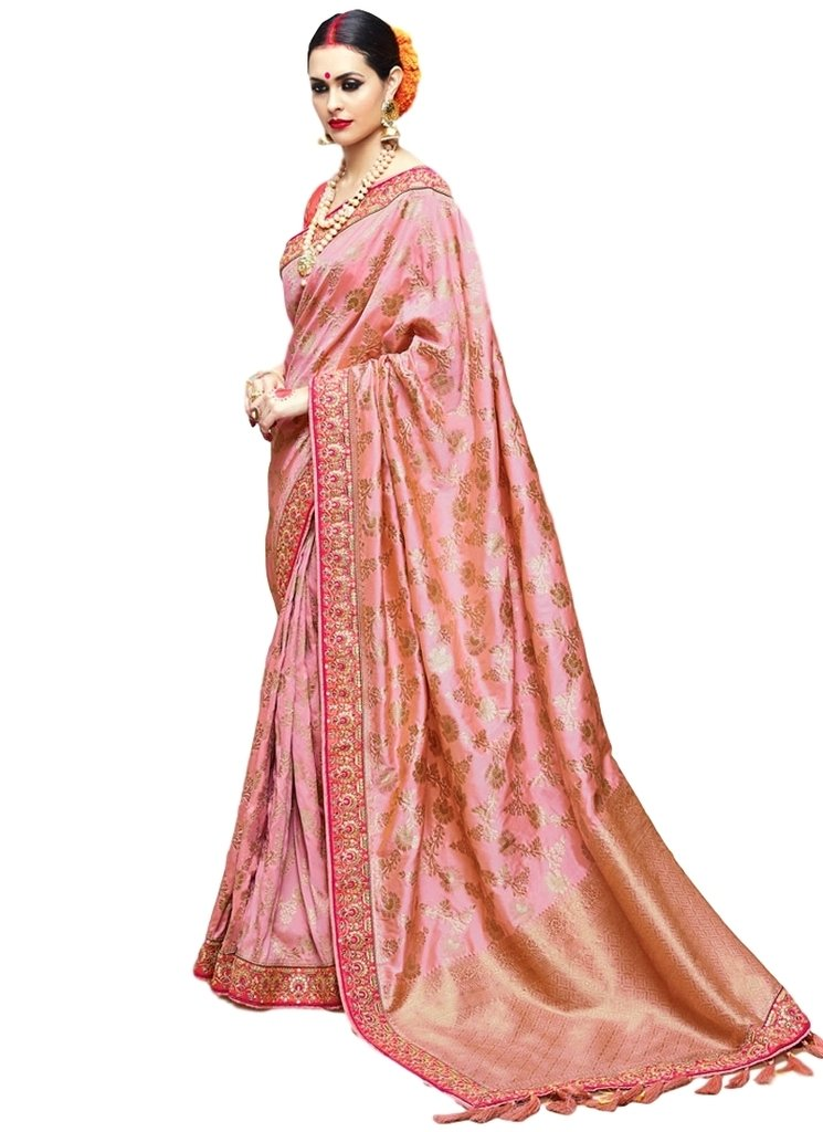 EthnicWear Latest Hot Selling Art Silk Party Wedding Pink Embroidered Heavy Blouse Zari Indian Women Best Saree