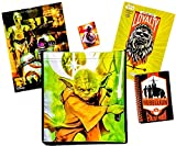 5 item LIMITED Disney Star Wars Bundle Exclusive [Chewbacca Coloring Book, Droid Pocket Folder, BB-8 Crayons, Rebellion Journal & Recyclable Tote bag (General Yoda Lightsaber JEDI)]