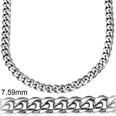 39b730f225933 Miami Cuban Link .925 Sterling Silver Solid Heavy Chain Secure LinxLock  Design, Platinum Plated, 7.5mm, Made in Italy,