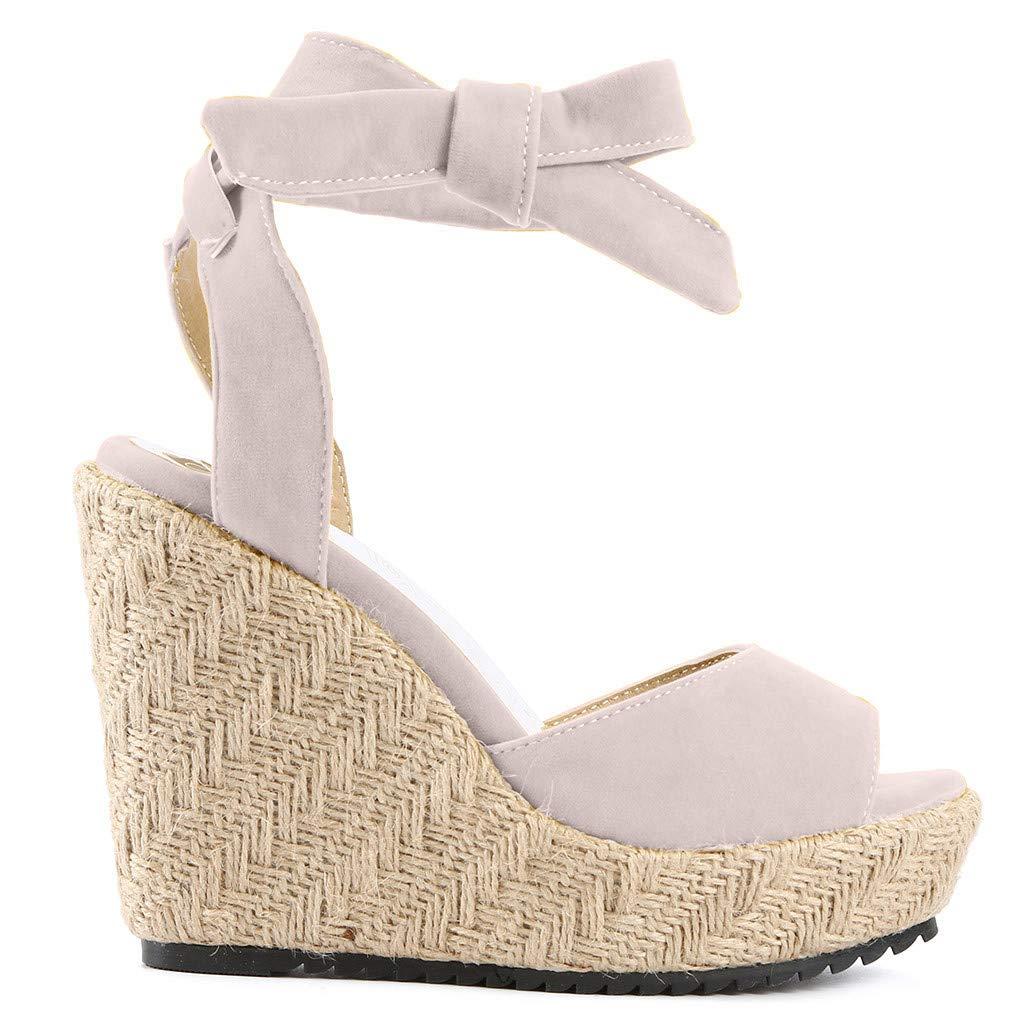 LILICAT✈✈ Zapatos Casuales//Sandalias Sandalias Mujer Verano 2019 Tallas Grandes Moda Sandalias de cu/ña de Verano de Mujeres Sandalia con Hebilla y Boca de pez se/ñoras Zapatos de Playa ni/ña Calzado