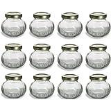 Nakpunar 12 pcs, 4 oz Round Glass Jars for Jam, Honey, Wedding Favors, Shower Favors, Baby Foods, Canning, spices