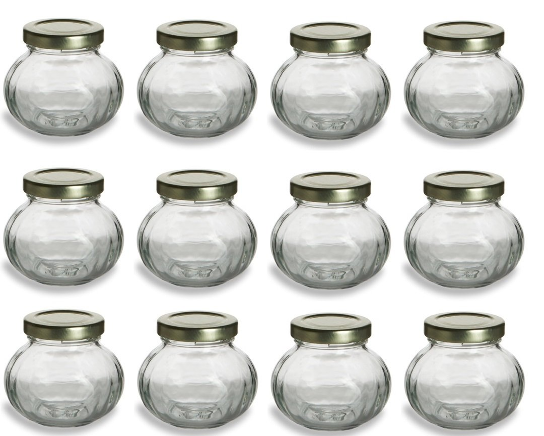 Amazon.com: Nakpunar 12 pcs, 4 oz Round Glass Jars for Jam, Honey ...