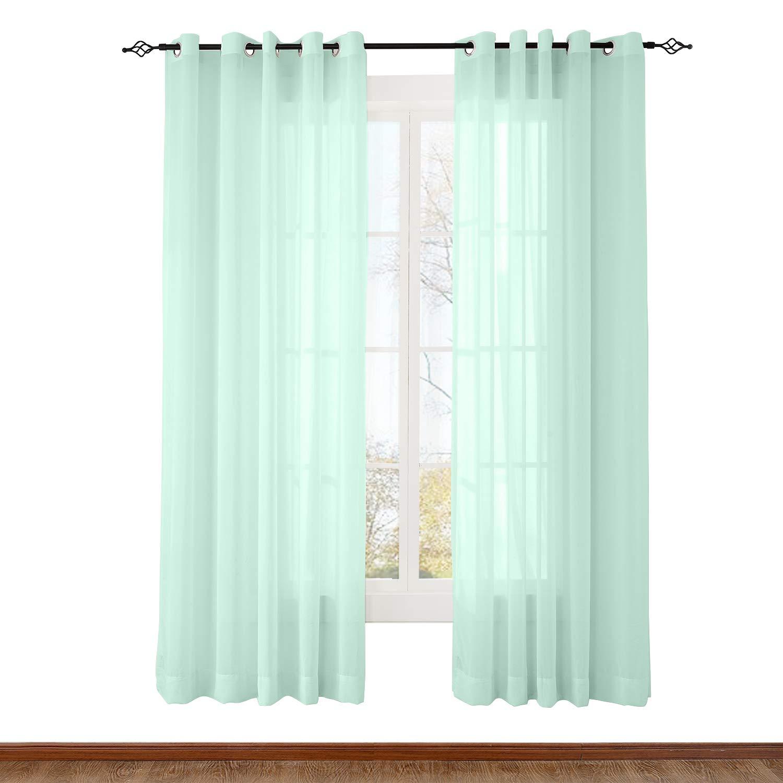 Amazoncom Chadmade Indoor Outdoor Solid Sheer Curtain Nickel Grommet Mint