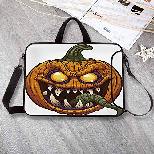 """Halloween Lightweight Neoprene Laptop Bag,Scary Pumpkin Monster Evil Character with Fangs Aggressive Cartoon Laptop Bag for Laptop Tablet PC,15.4""""L x 11""""W x -"""