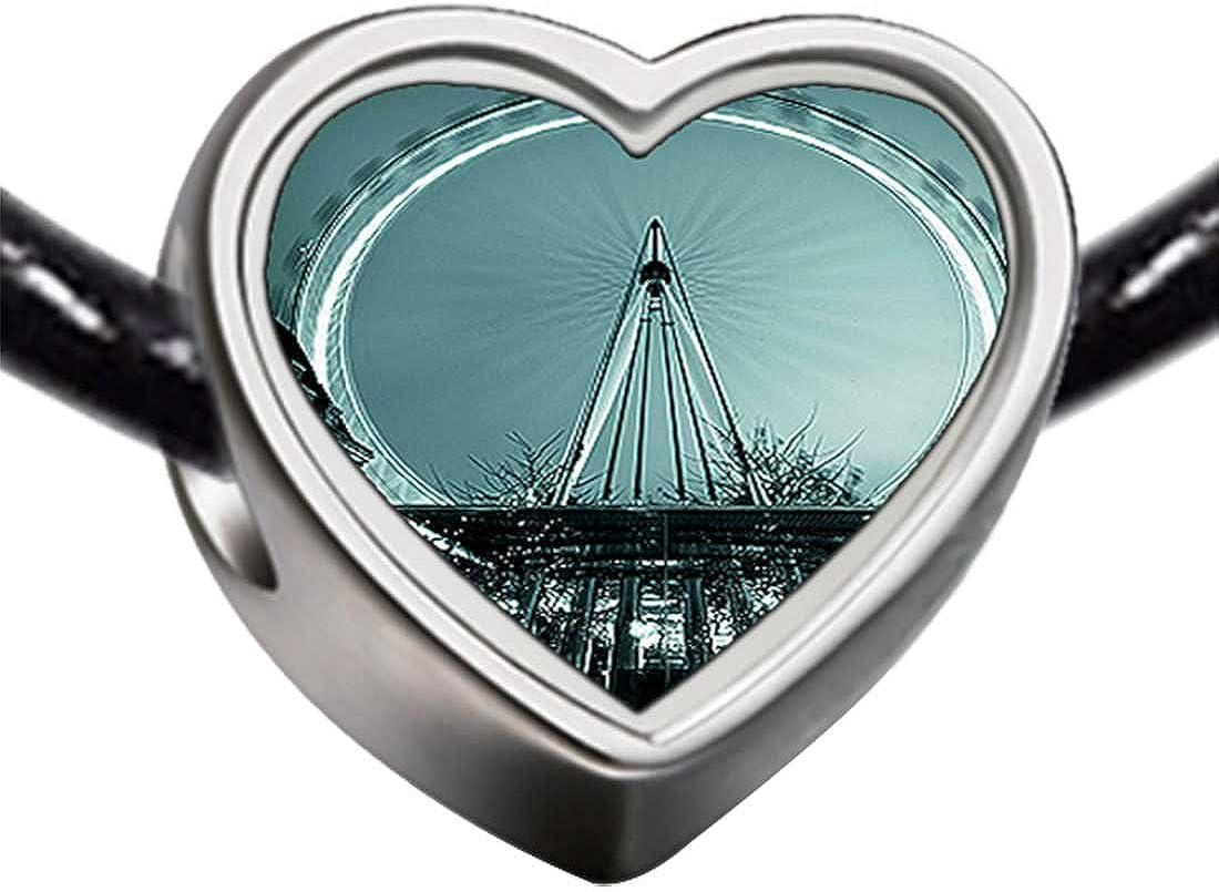 GiftJewelryShop Silver Plated London Eye a Giant Ferris Wheel Photo Heart Bead Charm Bracelets