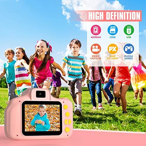 Peradix Appareil Photo pour Enfants 4 en 1,Cadeau Appareil Photo Numerique Enfant Vidéo Record Électronique de HD 2 Pouces 1080P avec Qualité 32 GB Petit Appareil Photo Jouet 3-8 Ans Garçons Filles