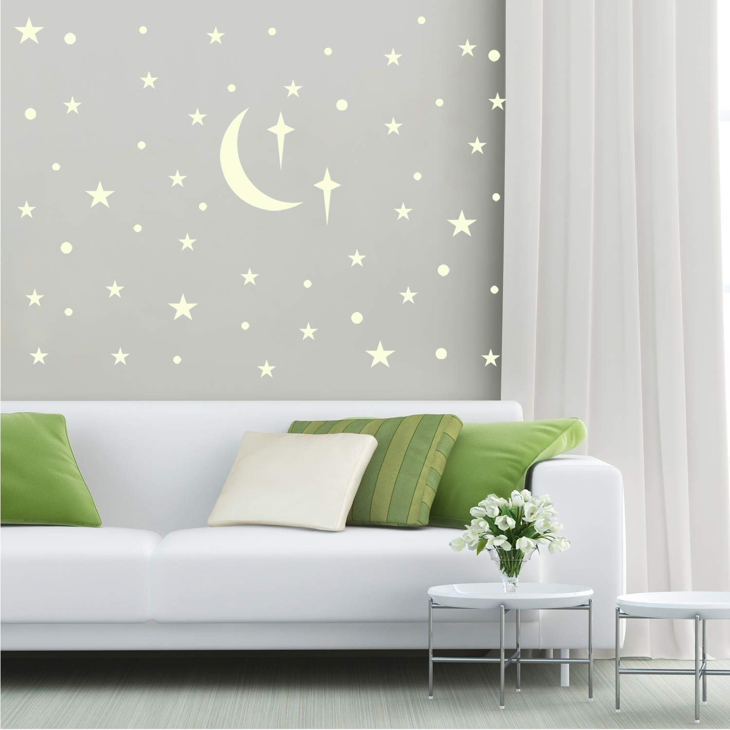 Hippomee Glowing Wall Decals Stickers for Kids Girls Boys Bedroom or Birthday Gift Pack of 69 Adhesive Dots 70 Stars 1 Moon Glow in The Dark Stars