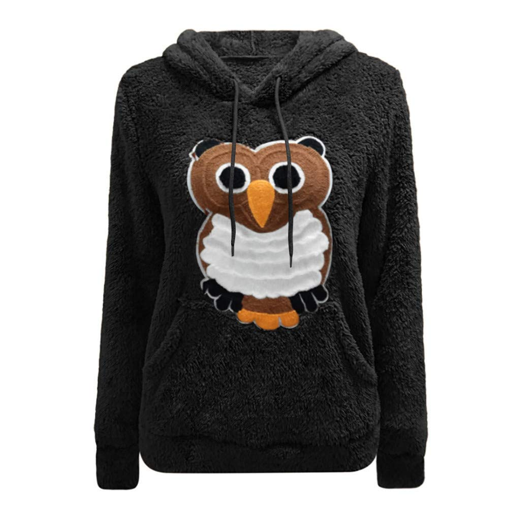 Nmch Women Winter Owl Pattern Print Warm Long Sleeve Hooded Sweatshirt Casual Lightweight Pullover Blouse Top