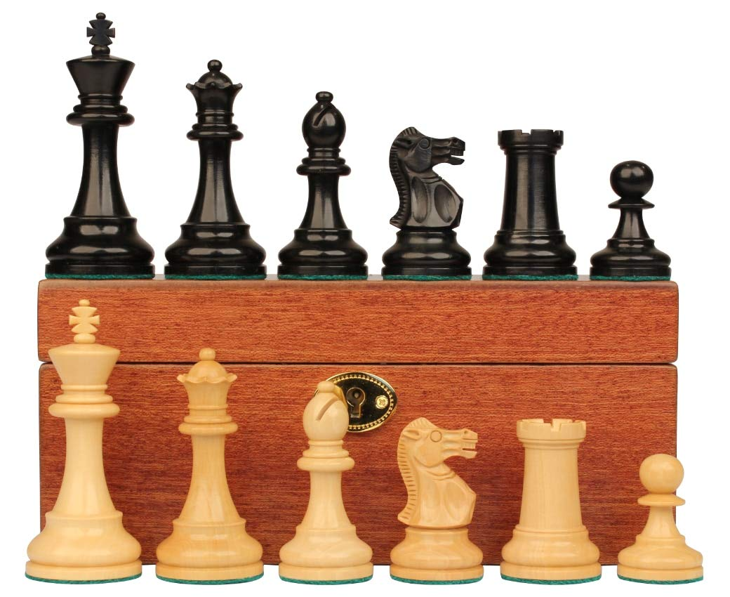 格安人気 British Stauntonチェスセットin Ebonized Boxwood Boxwood & Boxwood King British withマホガニーボックス – 3.5