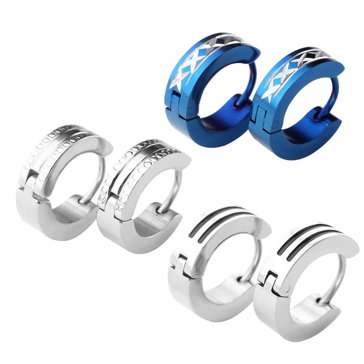 Zysta 3 Paires Boucle d\'oreille Créoles Earrings Rond pour Homme Femme Unisexe Punk 4mm Haut de Gamme Acier Inoxydable Cadeau