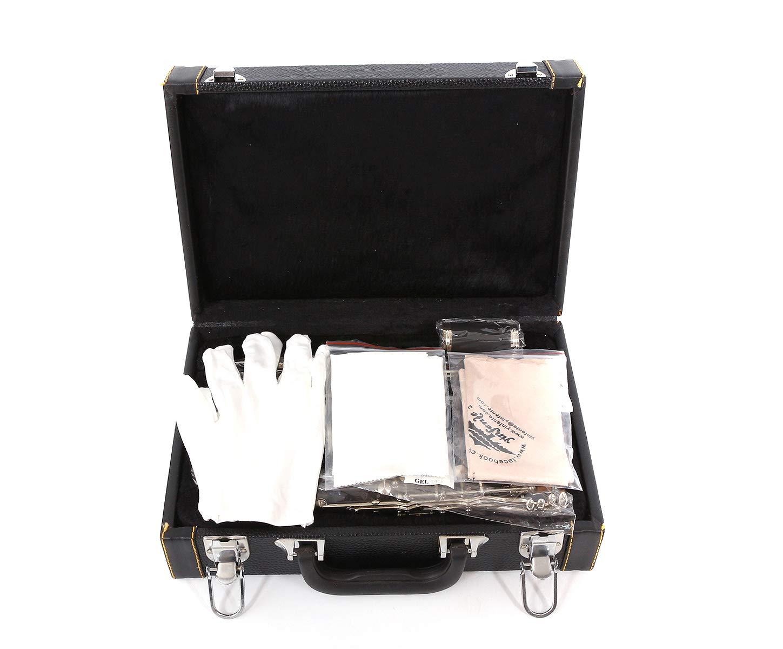Yinfente Clarinete profesional de madera de /ébano B Flat C Key 2 barriles con estuche de tela