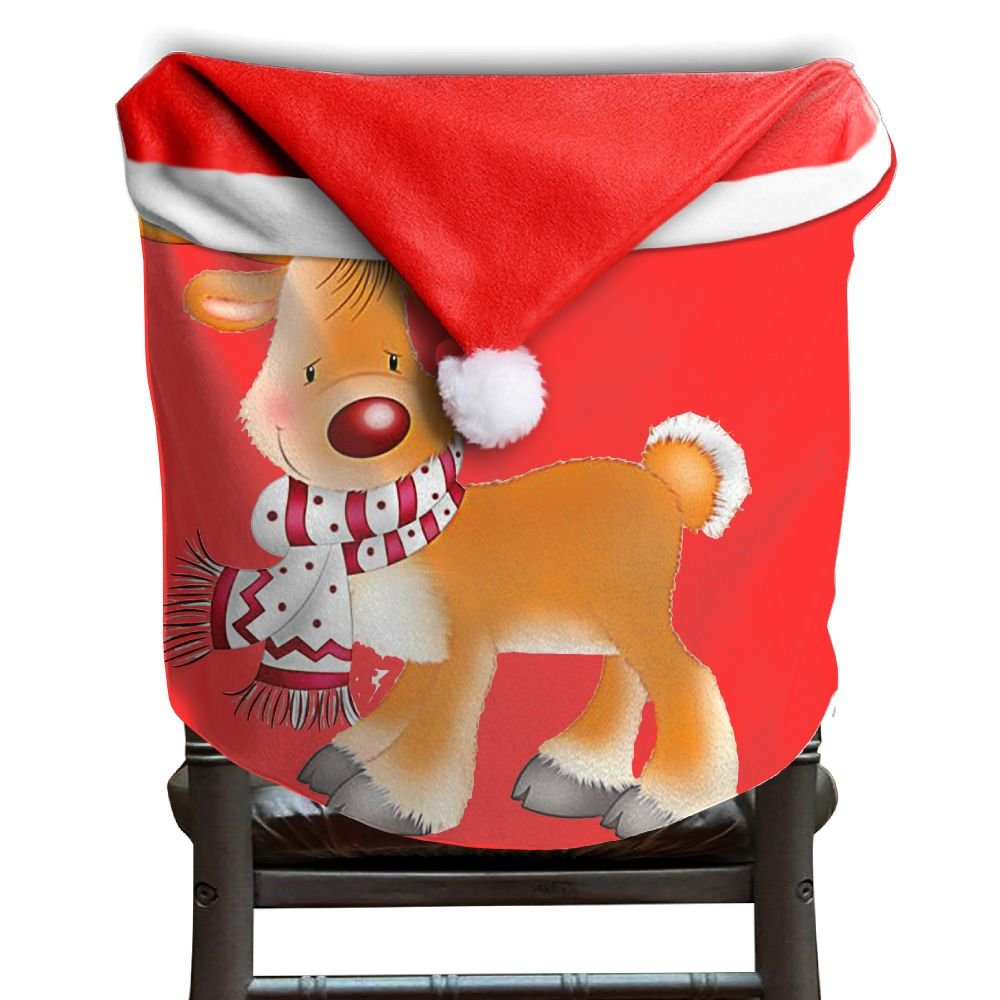4 Pcs Happy Chirstmas Reindeer Christmas Chair Back Cover Santa Claus Hat Christmas Chair Covers Santa Hat