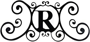24 Inch House Plaque Letter - Wrought Iron Metal Scrolled Monogram Initial Letter Home Door Wall Hanging Art Decor Family Name Last Name Letter Sign (R, 24 x 11 inches,Thick 2mm) Christmas Gift