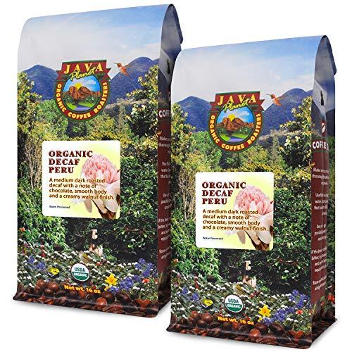 Java Planet - Decaf Coffee Peru USDA Organic Coffee Beans, Water Processed, Medium Dark Roast, Arabica Gourmet Coffee Grade A, packaged in 2 - 1 LB bags (Best Tasting Decaf Coffee)