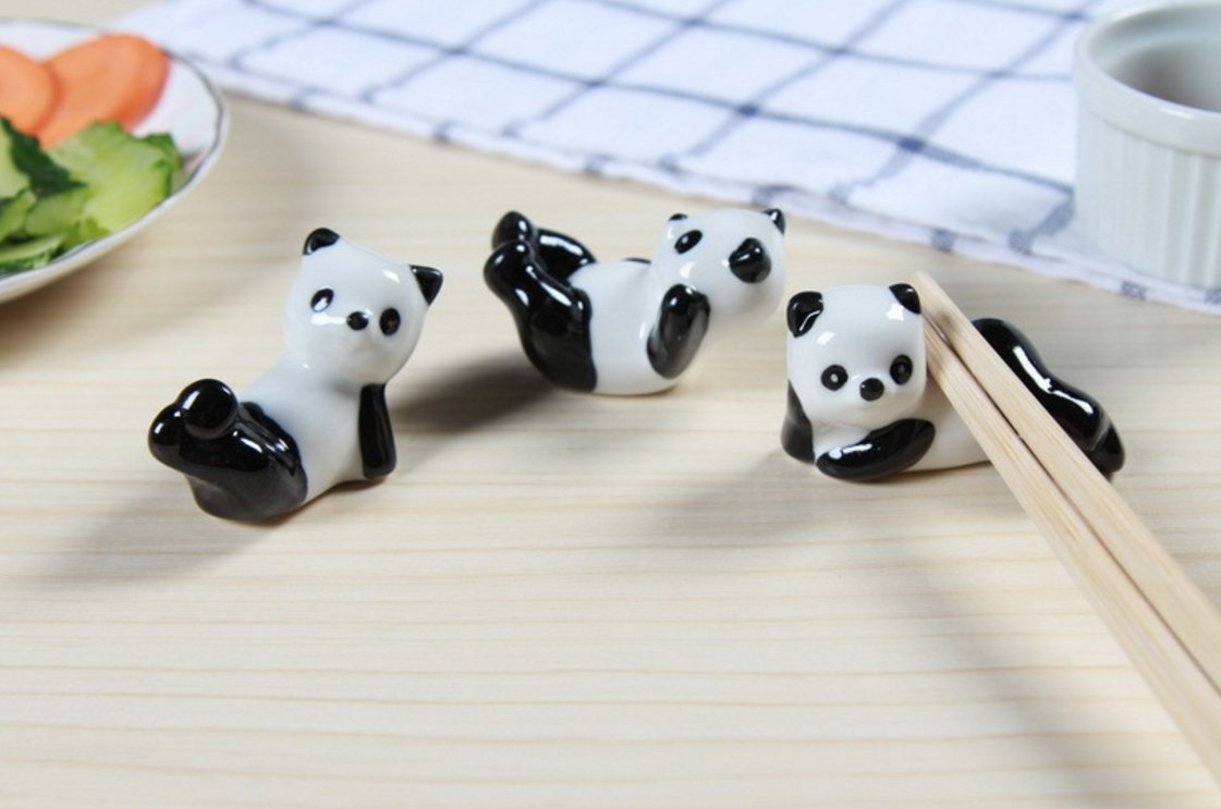 Chytaii Chopstick Rest Chopstick Holder Ceramic Panda Chopstick Rest Chopsticks Rests Rack Holder Nice Touch to Chinese Meal 415