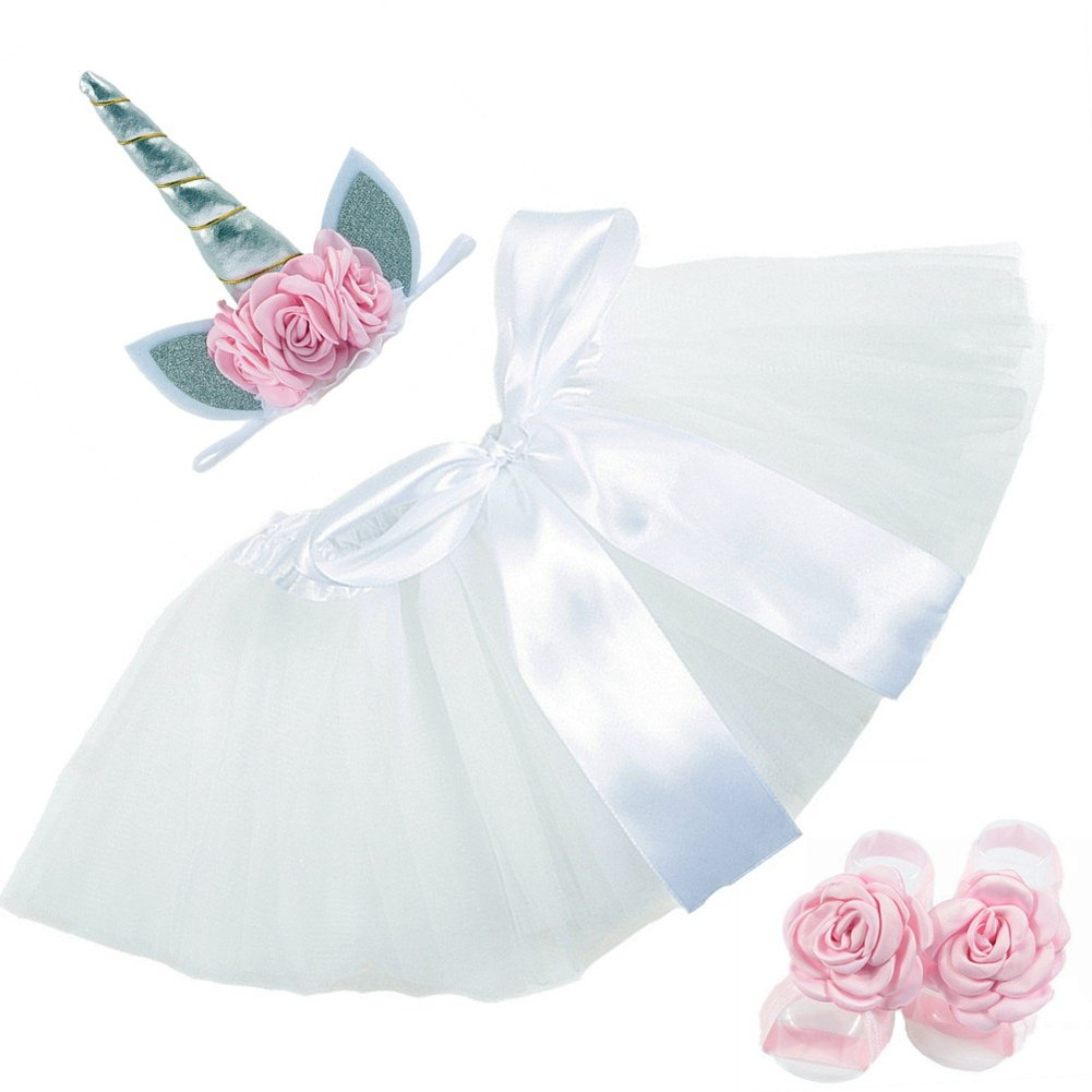 Ztl 4pcs//Set Baby Infant Photography Outfits Tutu Skirt /& Floral Unicorn Headband /& Barefoot Sandals