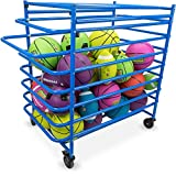 Metal Sports Ball Cage - Multi-Sport Steel Frame Ball Locker with Caster Wheels and Lock by Crown Sporting Goods