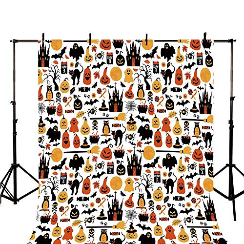 Halloween Stylish Backdrop,Halloween Icons Collection Candies Owls Castles Ghosts October 31 Theme Decorative for Photography,78.7