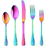 Bisda 5-Piece Rainbow Silverware Flatware Set Service for 1 Stainless Steel Cutlery Set Include Dinner Knife Table Fork…