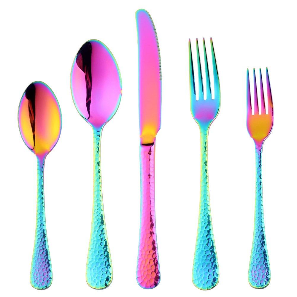 20-Piece Flatware Silverware Set, Bisda Rainbow Stainless Steel Cutlery Sets, Multipurpose Use for Home, Kitchen, Restaurant, Hotel Tableware Utensil Service for 4