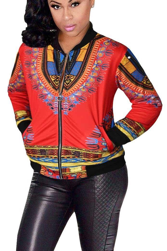 Women's Casual Bomber Jackets Plus-Size Vintage Fashion Printed Long Sleeve Dashiki Coat