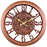 Cheap BELIFE 11″ Vintage Arabic Numeral Design Wall Clock,Silent Decorative Bronze Wall Clock Hollow Design, Battery Operated Quartz Analog Quiet Non Ticking Wall Clock for Living Room, Kitchen