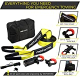 """Motormic Tow Strap Heavy Duty Recovery Gear - Complete Recovery Strap Set with 3""""X30' (30k lbs.) Tow Rope + 2"""" Shackle Hitch Receiver + 5/8 Pin Lock + 3/4 D Ring Shackles + Bag - off road recovery kit"""