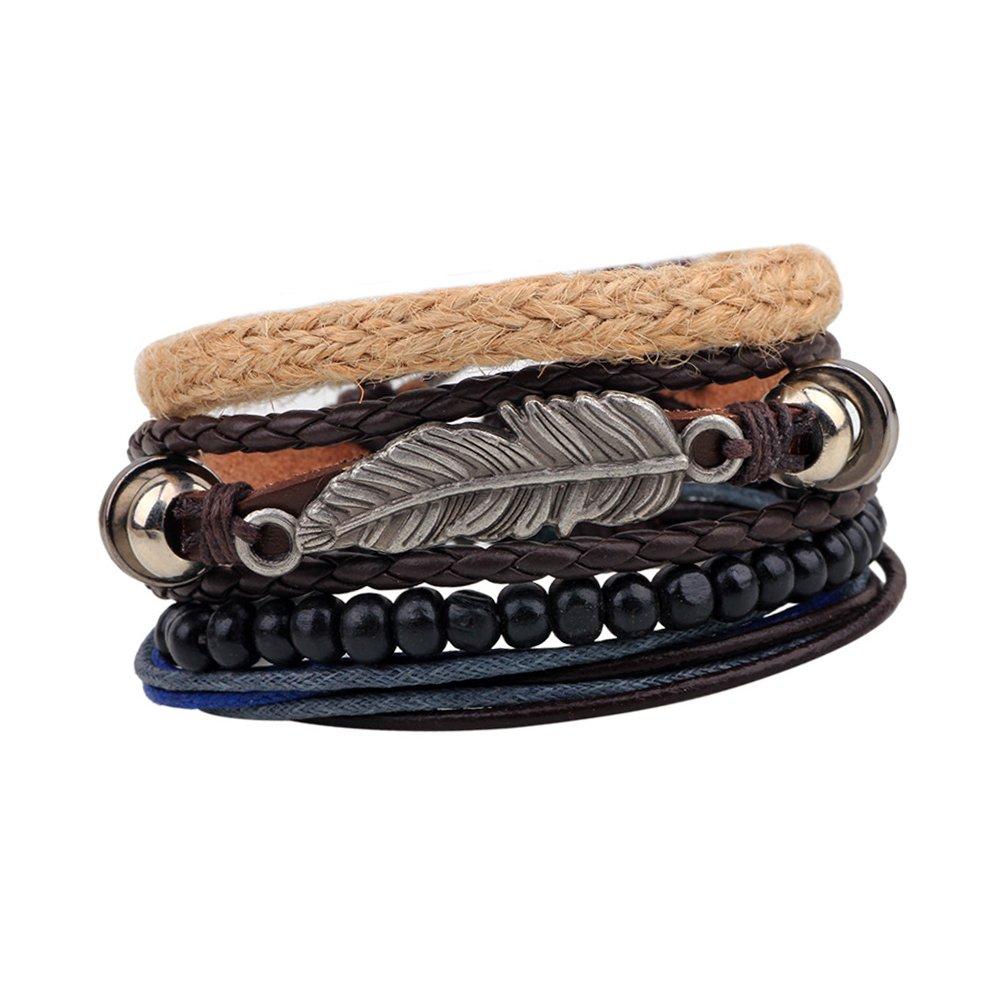 CHOA Punk Leaf Strand Leather Bracelets for Women Boho Beads Braided Bracelet Rope Bracelet Mens Jewelry Risu Jewelry