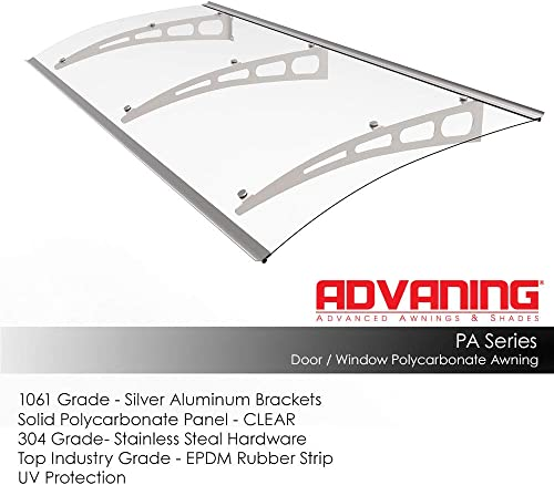ADVANING DA9435-PSS1A PA Series, Premium Quality Crystal Polycarbonate Door Window Awning Ideal for Rain, Snow and UV Protection, 94 W x 35 D, Clear Silver Brackets