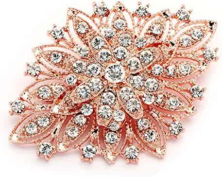 f842a08a9 Mariell 14KT Rose Gold Plated Vintage Wedding Crystal Bridal Brooch -  Stunning Art Deco Blush Tone