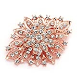 Mariell 14KT Rose Gold Plated Vintage Wedding Crystal Bridal Brooch - Stunning Art Deco Blush Tone Pin