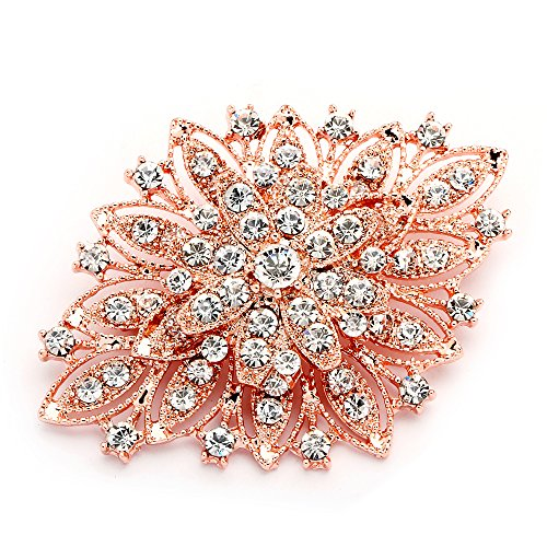 - Mariell 14KT Rose Gold Plated Vintage Wedding Crystal Bridal Brooch - Stunning Art Deco Blush Tone Pin