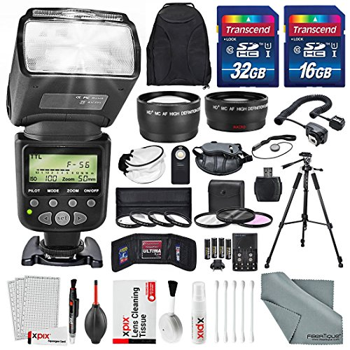 58MM 2.2x Telephoto & 0.43X Wide Angle HD w/ SLR AF Power Zoom Flash & xpix Cleaning Accessories + Professional kit for CANON REBEL (T6s T6i T6 T5i T4i T3i T3), EOS (700D 650D 600D 1100D 550D 500D)