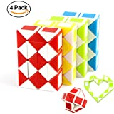 Speed Cube Puzzle Toys Magic Snake Twist,4 Pack 24 Wedges Children Cube Game Puzzle Toys For Kids Adult Gifts