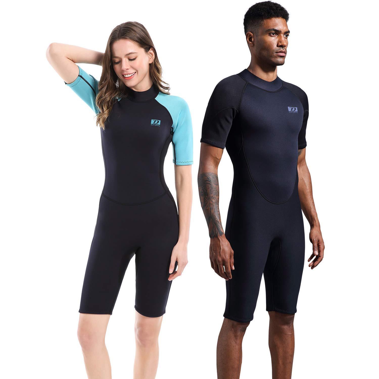 Dark Lightning 2mm Wetsuit Women, Women's Shorty Wet Suit Premium Neoprene Kids 2mm One Piece Wet Suits Fishing, Diving,Surfing, Snorkeling (2mm Shorty Wetsuit, Men's Large)