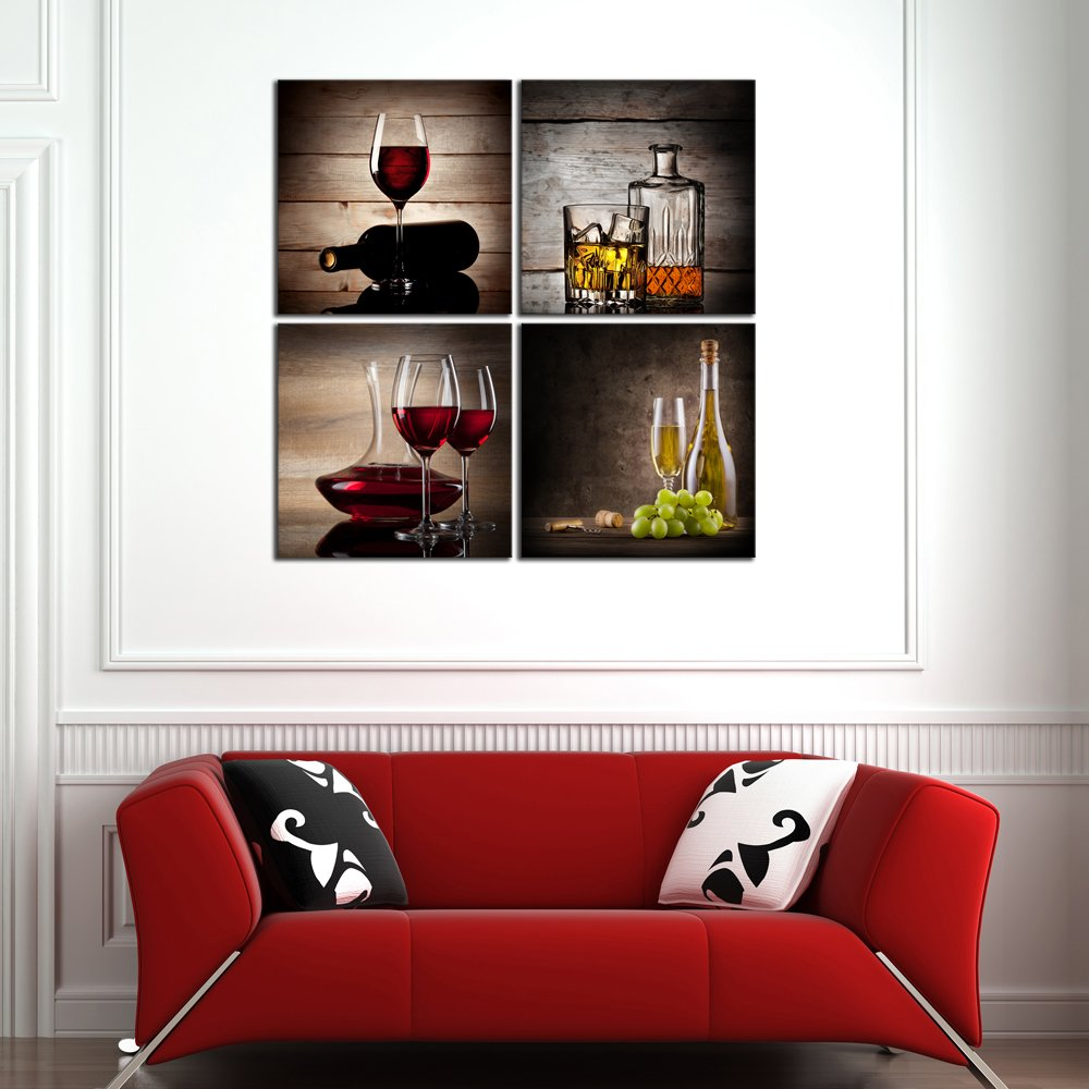Wieco Art Red Wine Cups HD Modern 4 Pieces Stretched and Framed Abstract Giclee Canvas Prints Artwork Contemporary Vintage Pictures Paintings on Canvas Wall Art for Kitchen Home Decorations