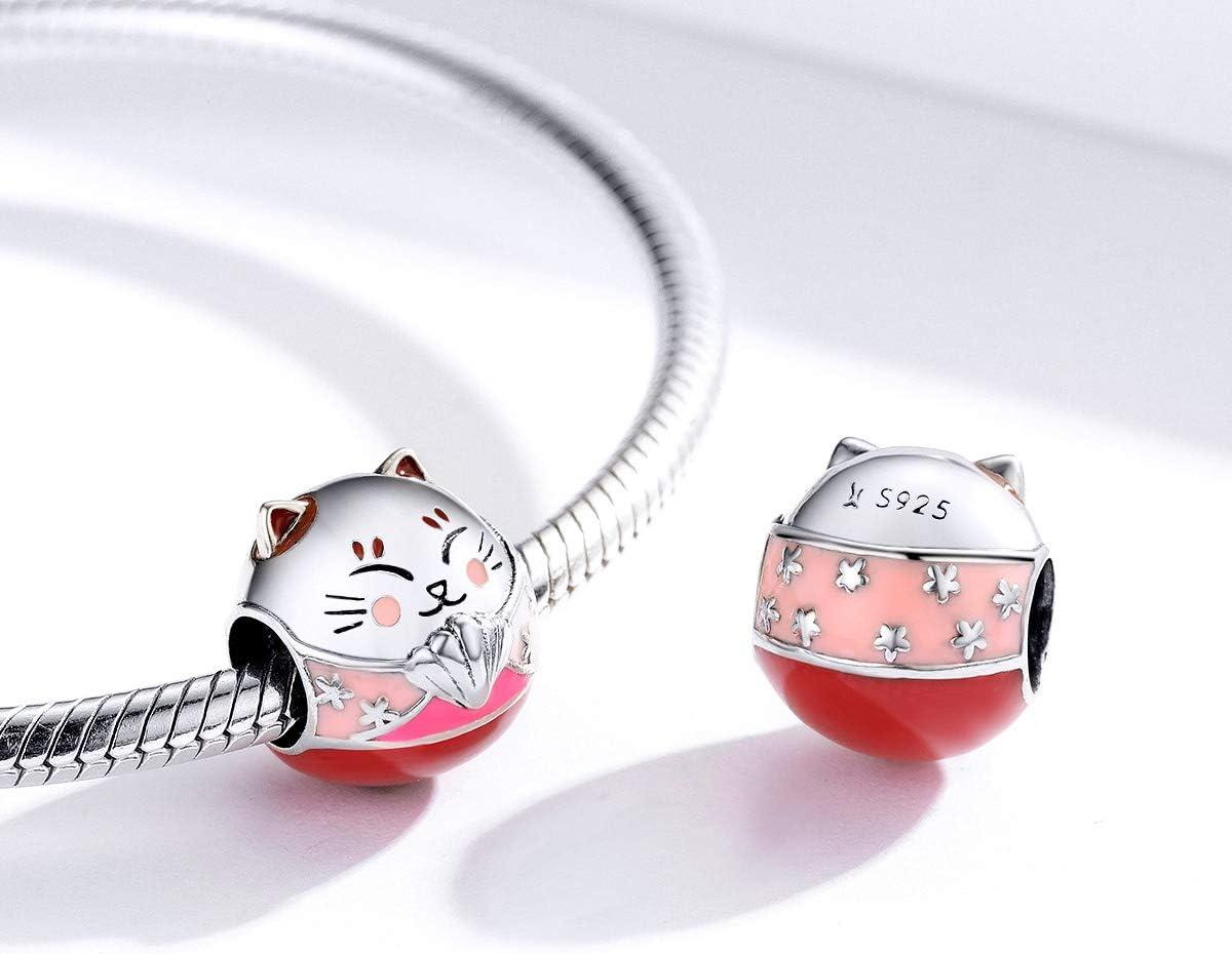 Ciondolo a forma di gatto in argento Sterling 925 con ciondolo a forma di animale con zirconia cubica rosa regalo di Natale per donne e ragazze Style 5 Stile 5. adatto per braccialetti e collane