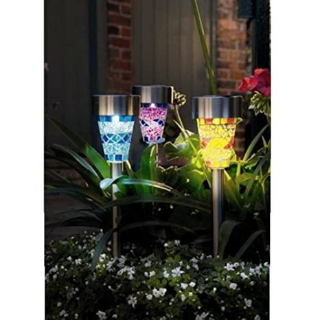 Superled Solar Powered Rechargeable Mosaic Border Garden Post Lights For  Garden Decoration Christmas Gift Blue Purple